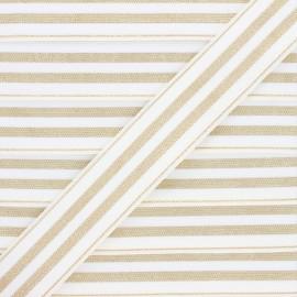 Ruban élastique rayé lurex Louis 30 mm - blanc/doré x 1m