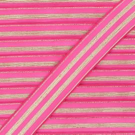 30 mm Striped lurex elastic band - fuchsia/golden Louis x 1m