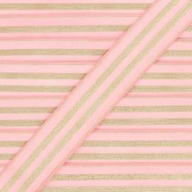 30 mm Striped lurex elastic band - pink/golden Louis x 1m