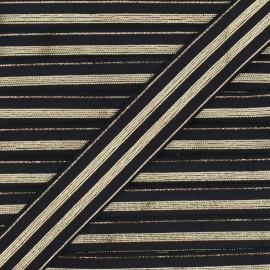 20 mm Striped Lurex Elastic Band - Black Louis x 1m