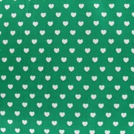 Tissu mini coeurs blanc fond vert prairie x 10cm