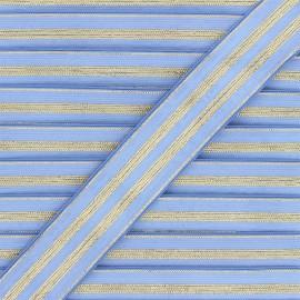Ruban élastique rayé lurex Louis 30 mm - bleuet/doré x 1m