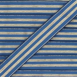 Ruban élastique rayé lurex Louis 30 mm - bleu houle/doré x 1m