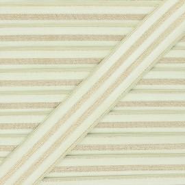 30 mm Striped lurex elastic band - almond green/golden Louis x 1m