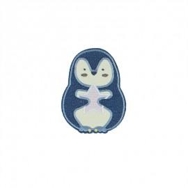 Iron-on patch - blue Pingouinou