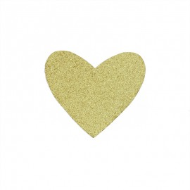 Glittery iron-on patch - gold Mon coeur