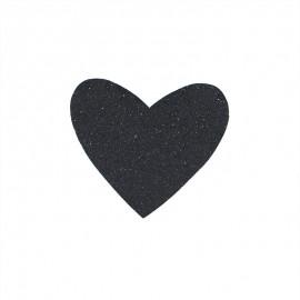 Glittery iron-on patch - black Mon coeur
