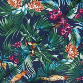 Tissu popeline de coton élasthanne Atelier Jupe Tropicali - bleu marine x 10cm