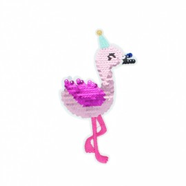 Iron-on patch reversible sequin - Flamant rose
