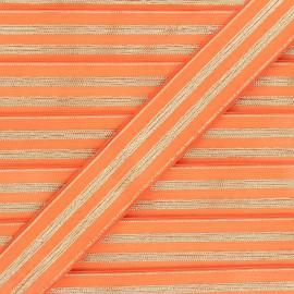 30 mm Striped lurex elastic band - orange/golden Louis x 1m