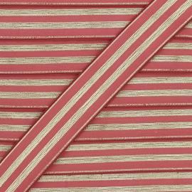 Ruban élastique rayé lurex Louis 30 mm - tomette/doré x 1m