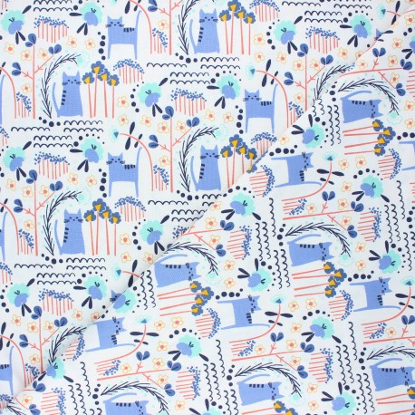 Tissu coton Cotton Steel Glory - Elsies cat - bleuet x 10cm