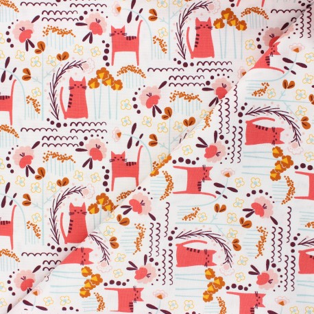 Cotton Steel cotton fabric Glory - coral pink Elsies cat x 10cm