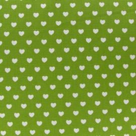 Tissu mini coeurs blanc fond vert mousse x 10cm