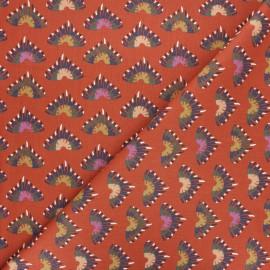 Tissu coton cretonne Kodoko - rouille x 10cm