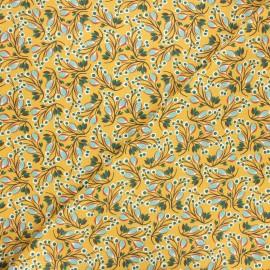 Cretonne cotton fabric - yellow mustard Selyn x 10cm