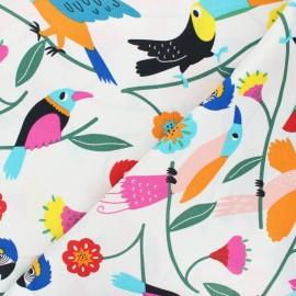 Alexander Henry cotton fabric - white Las plumas x 10 cm