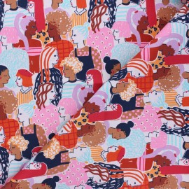 Alexander Henry cotton fabric - fuchsia Stronger together x 10 cm