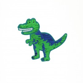 Iron-on patch reversible sequin - T-rex
