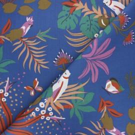 Tissu coton cretonne Papagaios - bleu marine x 10cm
