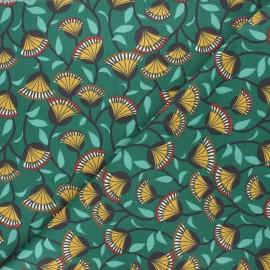 Tissu coton cretonne Nyer - vert x 10cm
