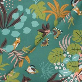 Tissu coton cretonne Papagaios - vert x 10cm