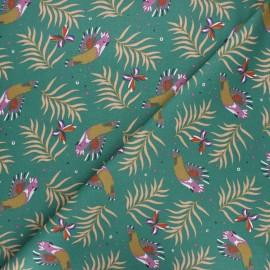 Tissu coton cretonne Cacatoes - vert x 10cm