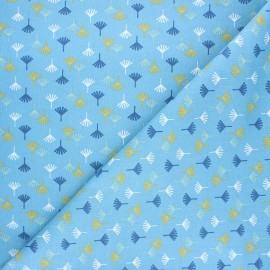 Tissu coton cretonne Tikama - bleu x 10cm