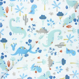 Tissu coton cretonne Neogrrr - blanc x 10cm
