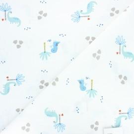 Cretonne cotton fabric - white Minigrrr x 10cm