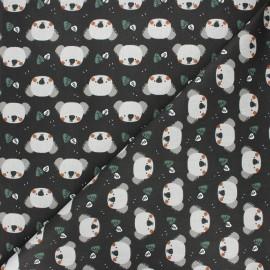 Cretonne cotton fabric - licorice Kiwak x 10cm