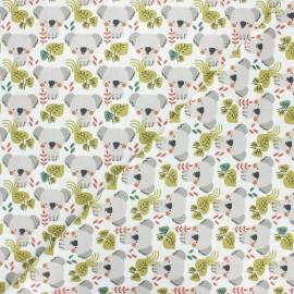 Tissu coton cretonne Kowali - blanc x 10cm