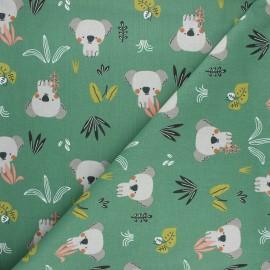 Tissu coton cretonne Kokoli - vert x 10cm