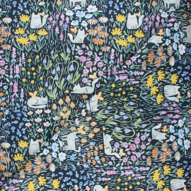 Dear Stella cotton fabric Creative cats - black Kitty garden x 10cm