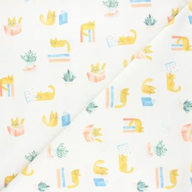 Dear Stella cotton fabric Creative cats - raw Cat library x 10cm