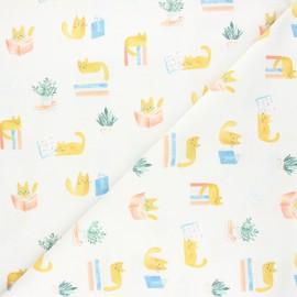 Tissu coton Dear Stella Creative cats - Cat library - écru x 10cm