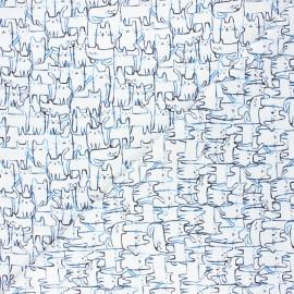 Dear Stella cotton fabric Creative cats - white Wait a meow-ment x 10cm