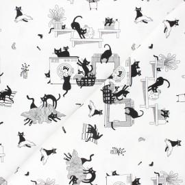 Dear Stella cotton fabric Les chats noirs - white Les chats noirs x 10cm
