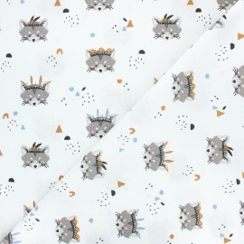 Tissu coton cretonne Rocket - blanc x 10cm