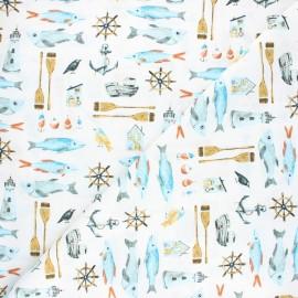 Dear Stella cotton fabric Hook, line & sinker - white Carp-e diem x 10cm