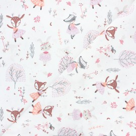 Tissu coton cretonne Ezelia - blanc x 10cm