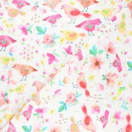 Tissu coton Timeless Treasures - Sweet birds - blanc x 10cm