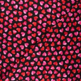 Tissu coton Timeless Treasures - Big pop love - rose/noir x 10cm