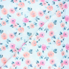 Dear Stella cotton fabric - light blue Posies x 10cm
