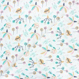 Tissu coton cretonne Jaelle - vert x 10cm