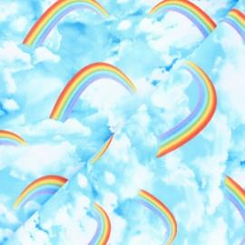 Tissu coton Timeless Treasures - Rainbow & cloud sky - bleu x 10cm