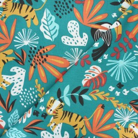 Tissu coton cretonne Kimang - vert paon x 10cm