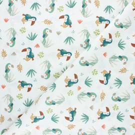 Tissu coton cretonne Yete - blanc x 10cm