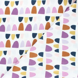 Cotton Steel cotton fabric Mountains, rocks, and pebbles - white Rolling hills x 10cm