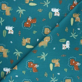 Tissu coton cretonne Nikosi - vert paon x 10cm